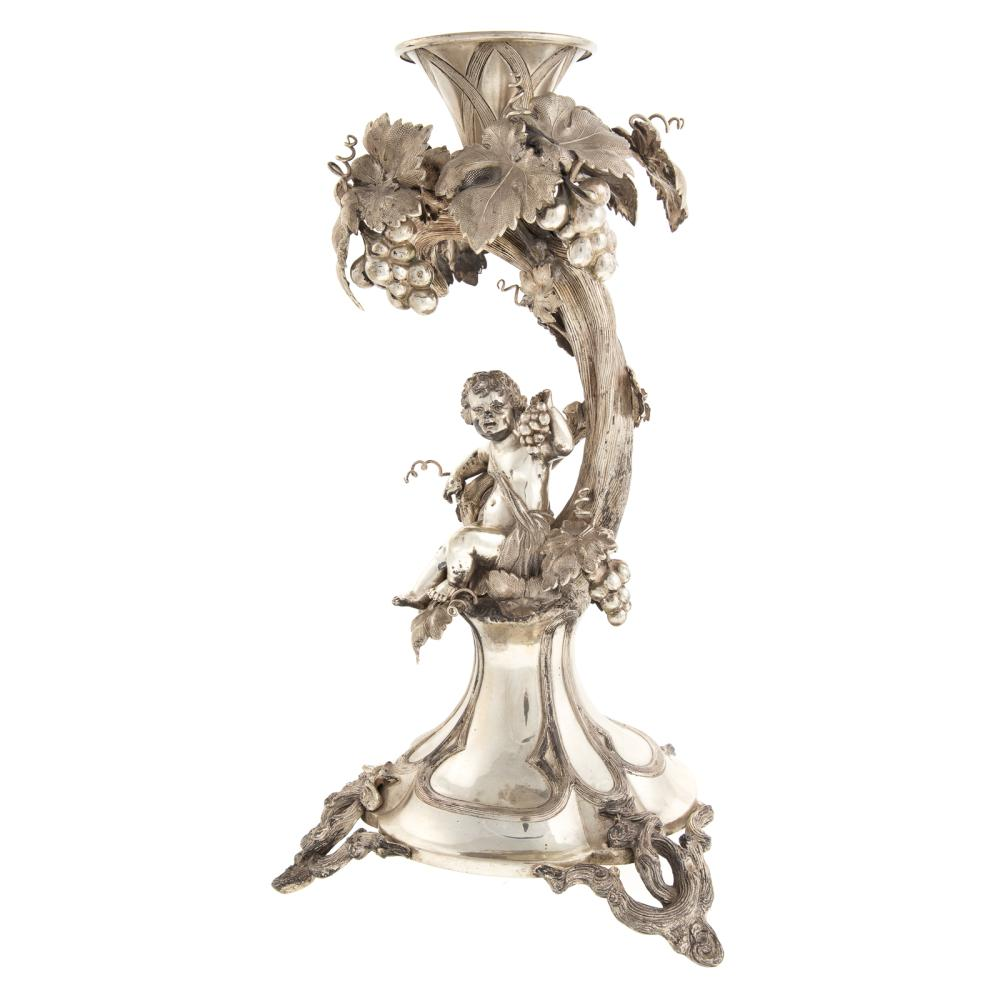 Lot 422: Continental Art Nouveau Silver Figural Candlestick