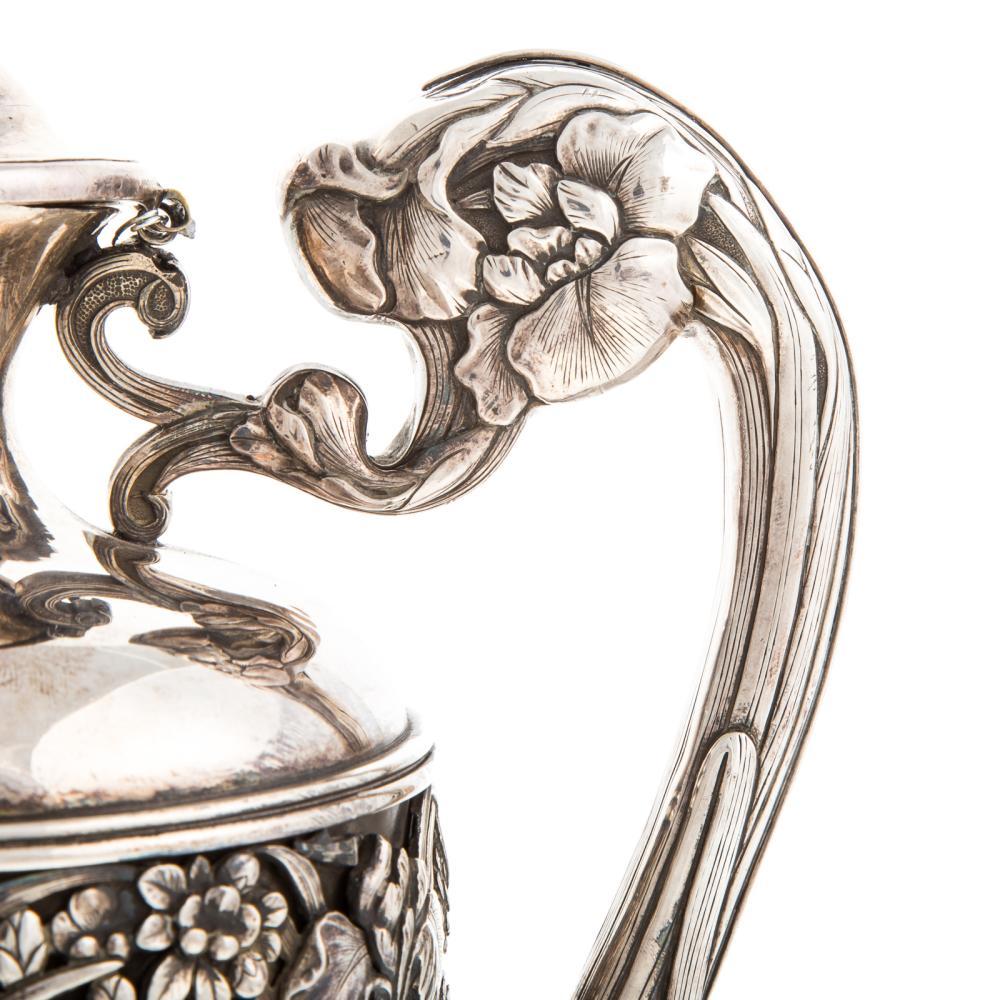 Lot 421: Japanese Sterling Silver Floral Ewer