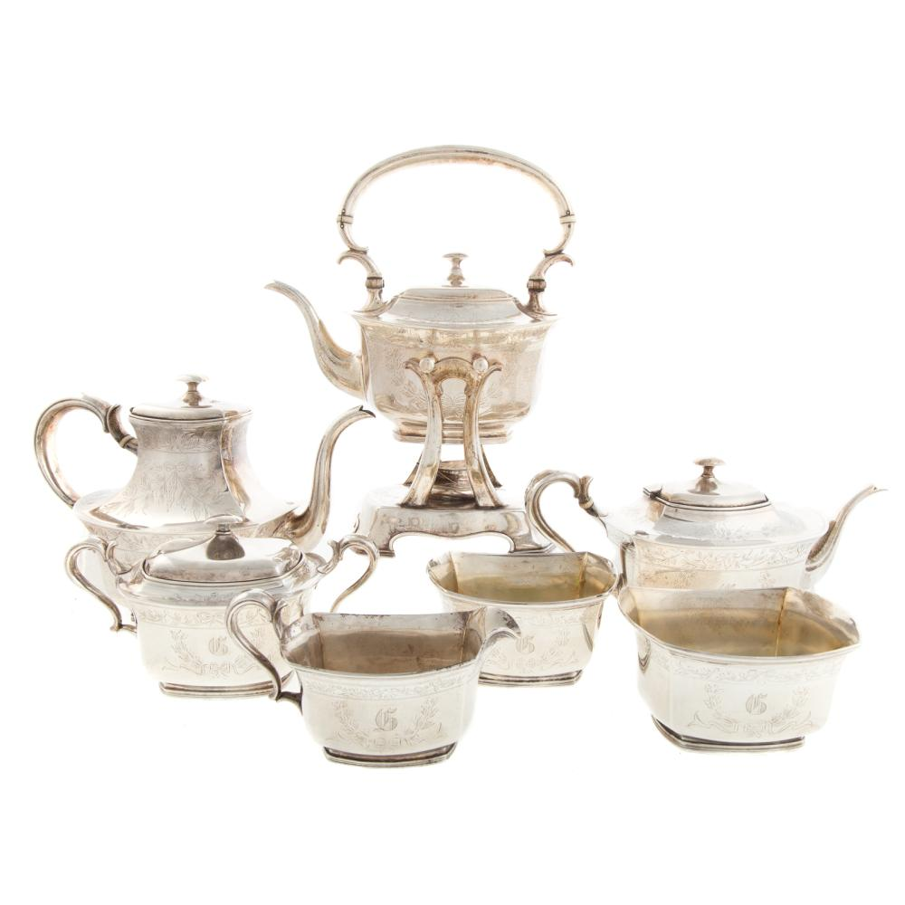Lot 423: Whiting & Co. Silver 7-pc Coffee & Tea Service