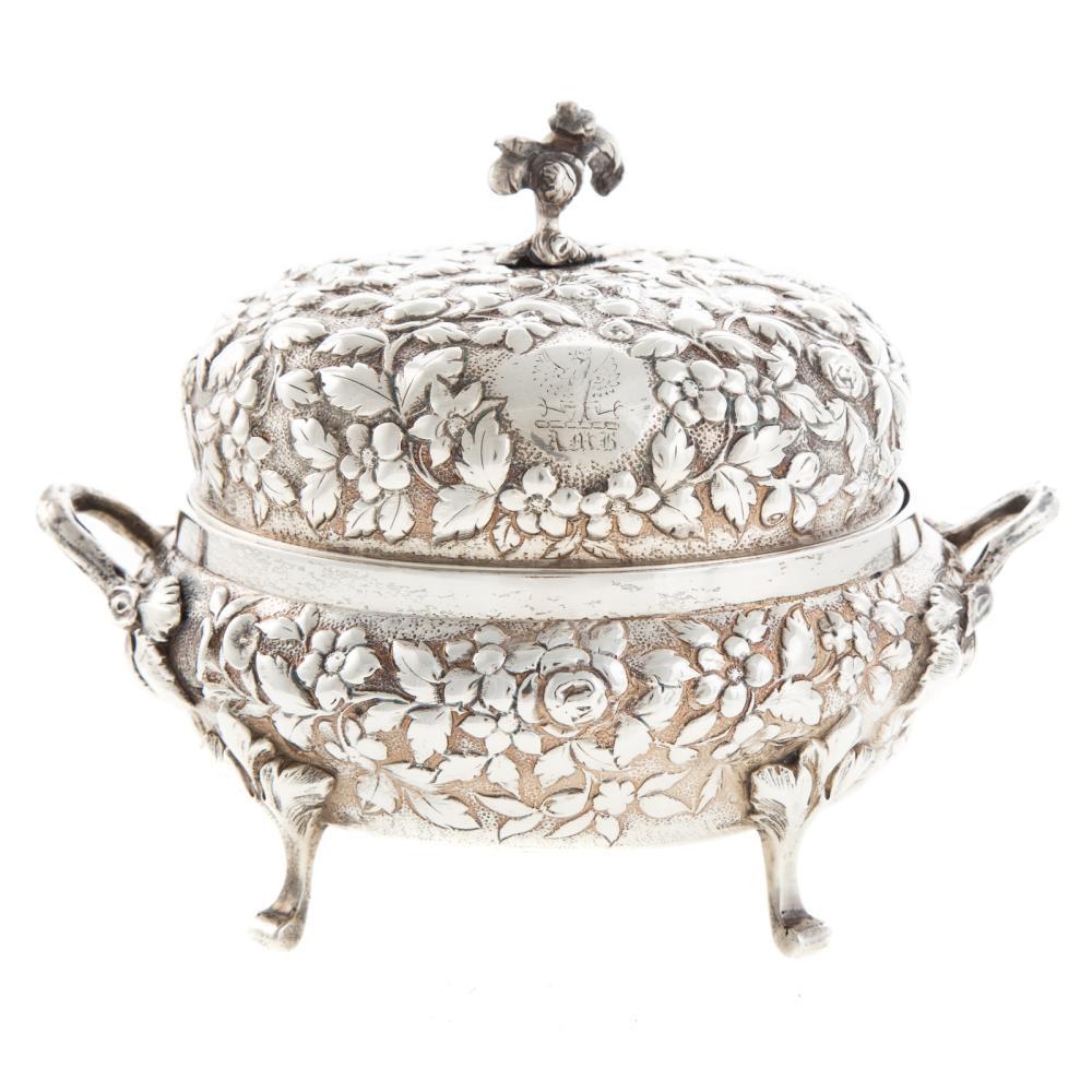 Lot 430: A. E. Warner Silver Repousse Butter Dish
