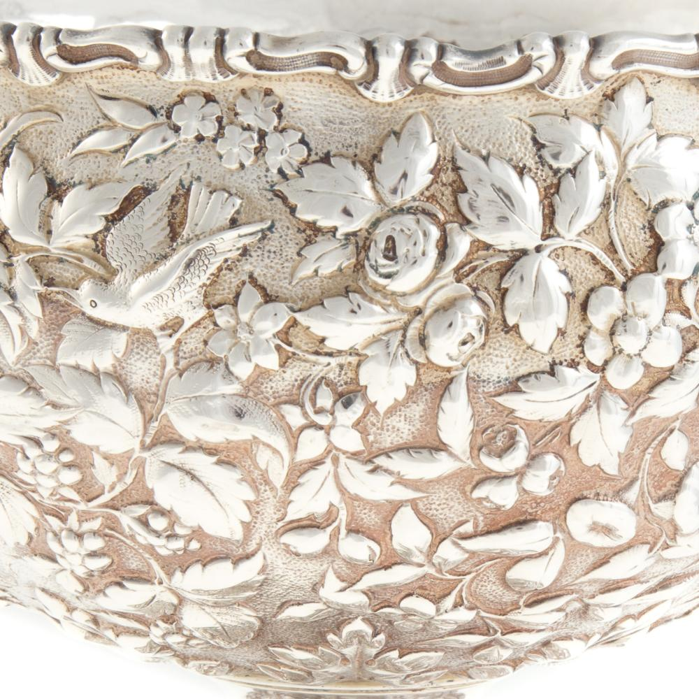 Lot 431: A. E. Warner Sterling Silver Repousse Center Bowl