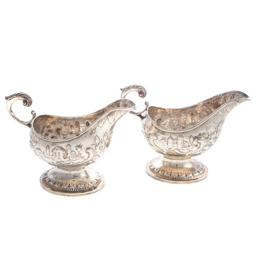 Lot 436: Two Gould, Stowell & Ward Coin Silver Sauce Boats