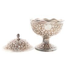 Lot 435: Two A. E. Warner Sterling Silver Pedestal Dishes