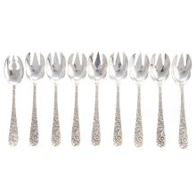 Lot 440: Eight S. Kirk & Son Sterling Ice Cream Forks