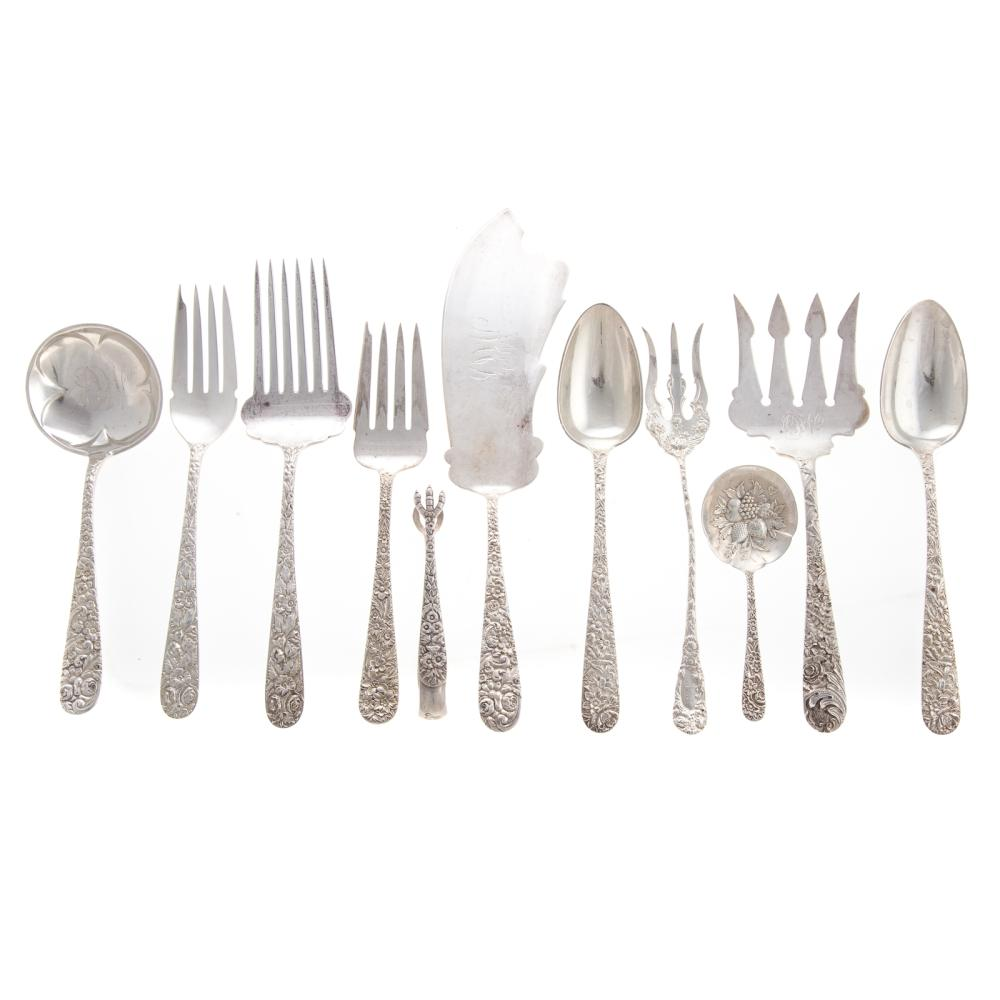 Lot 444: Collection of Sterling Repousse Serving Pieces