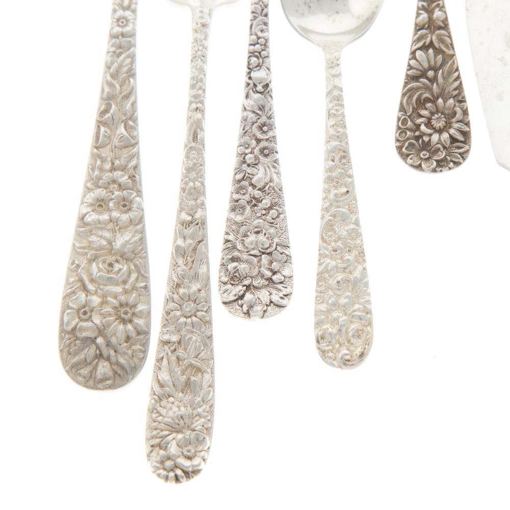 Lot 445: Collection of Assorted Sterling Repousse Flatware