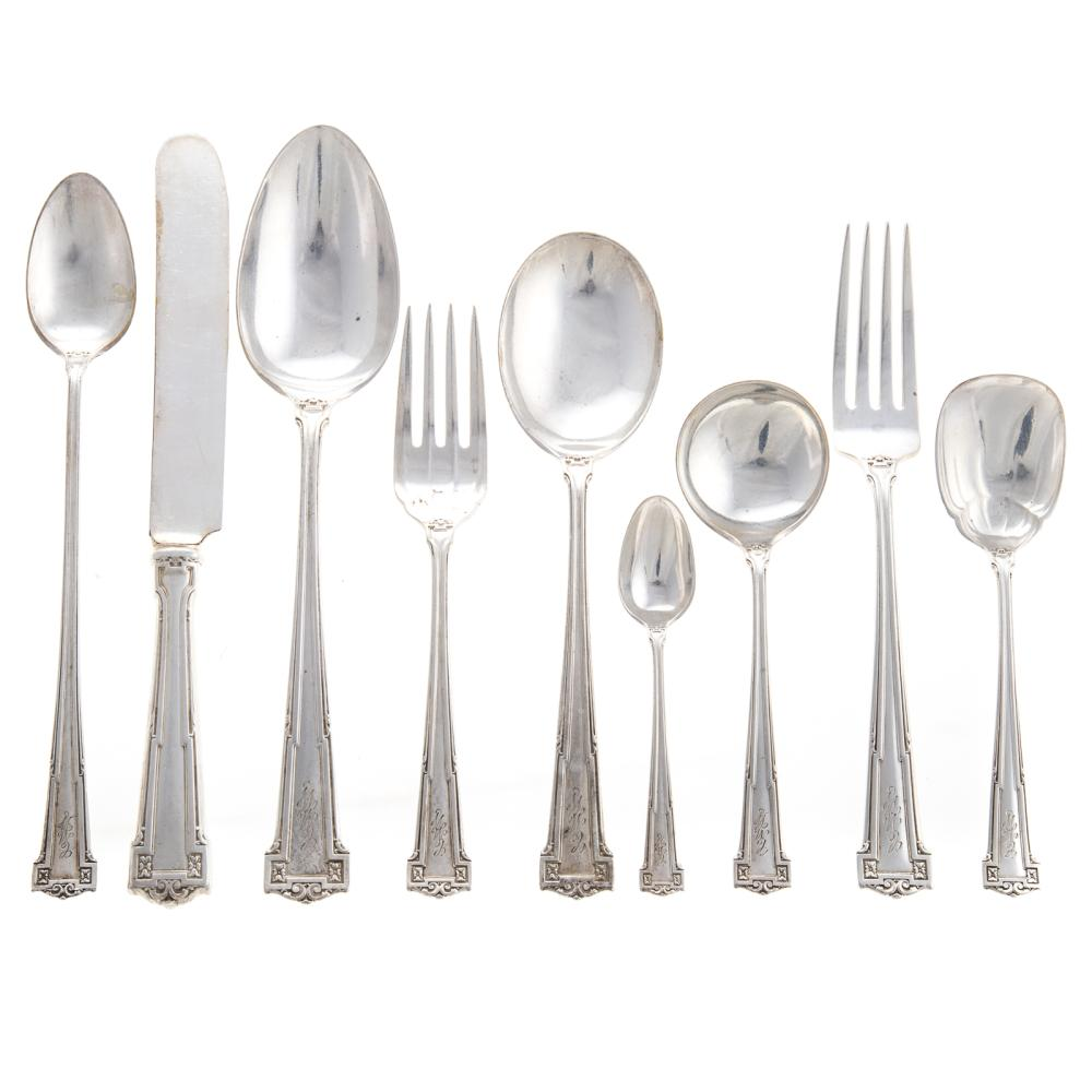 """Lot 451: R. Wallace & Sons Sterling """"Dauphine"""" Flatware"""