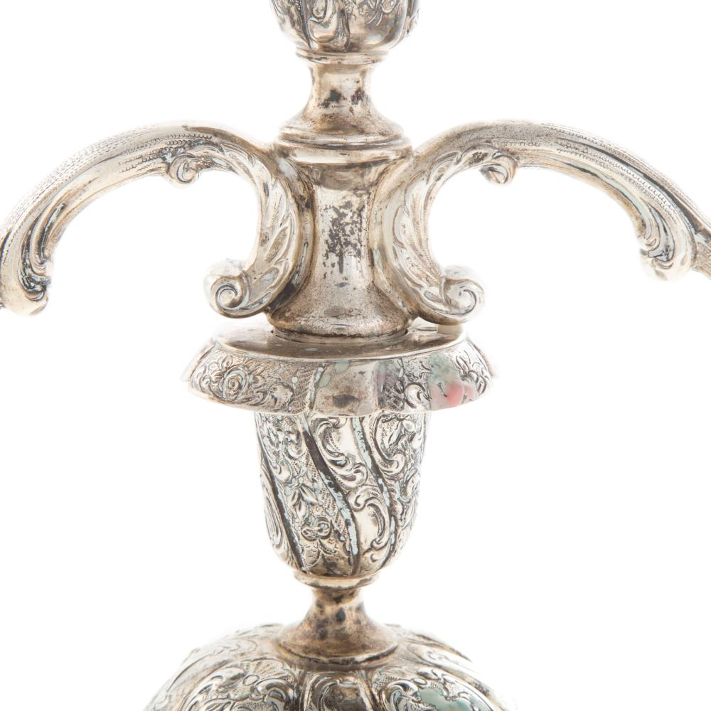 Lot 455: Pair German Silver Three-Light Candelabra