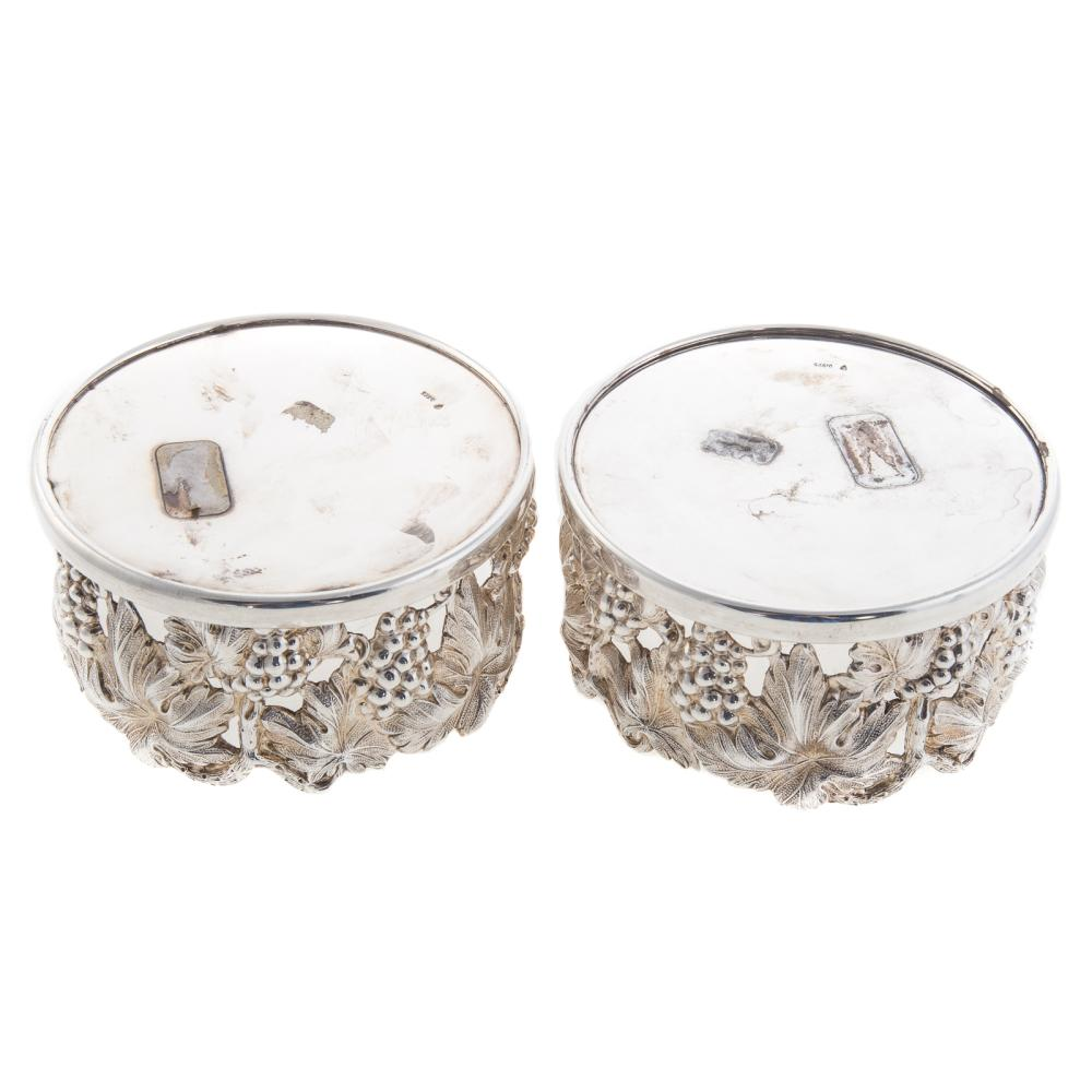 Lot 463: Pair Portuguese Sterling Silver Wine Coasters