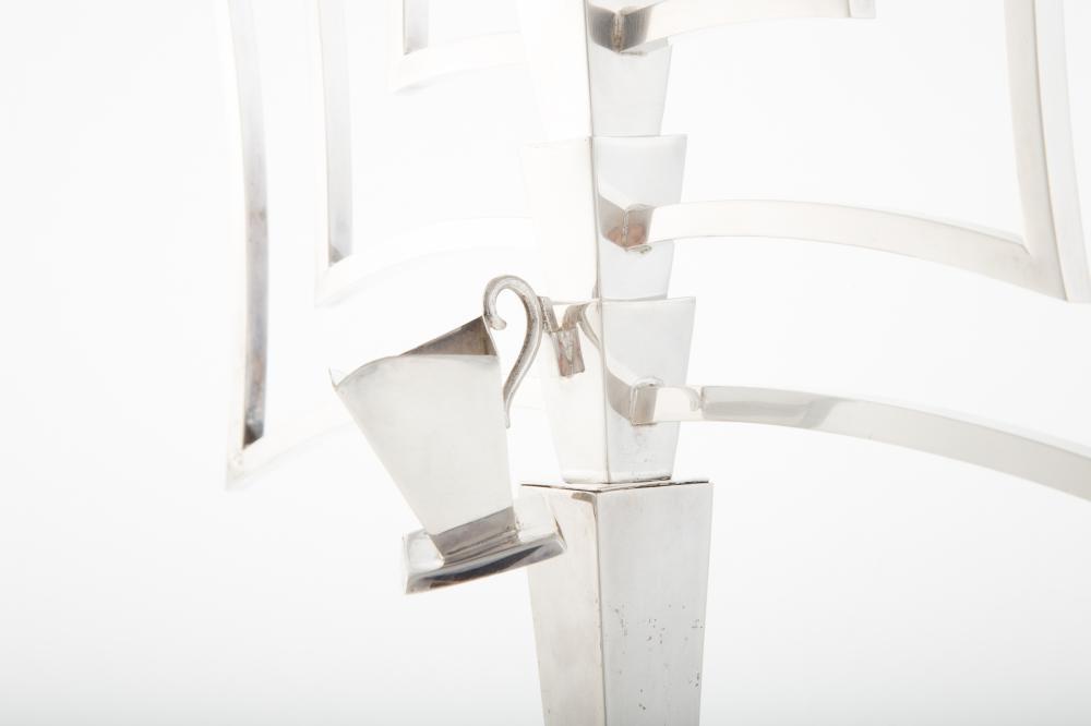 Lot 470: Israeli Sterling Silver Modernist Menorah