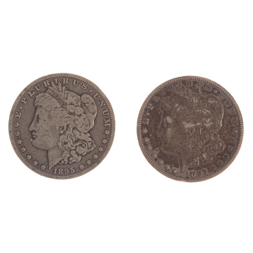 Lot 603: A Pair of Better Date Morgan Dollars 93-CC & 95-O