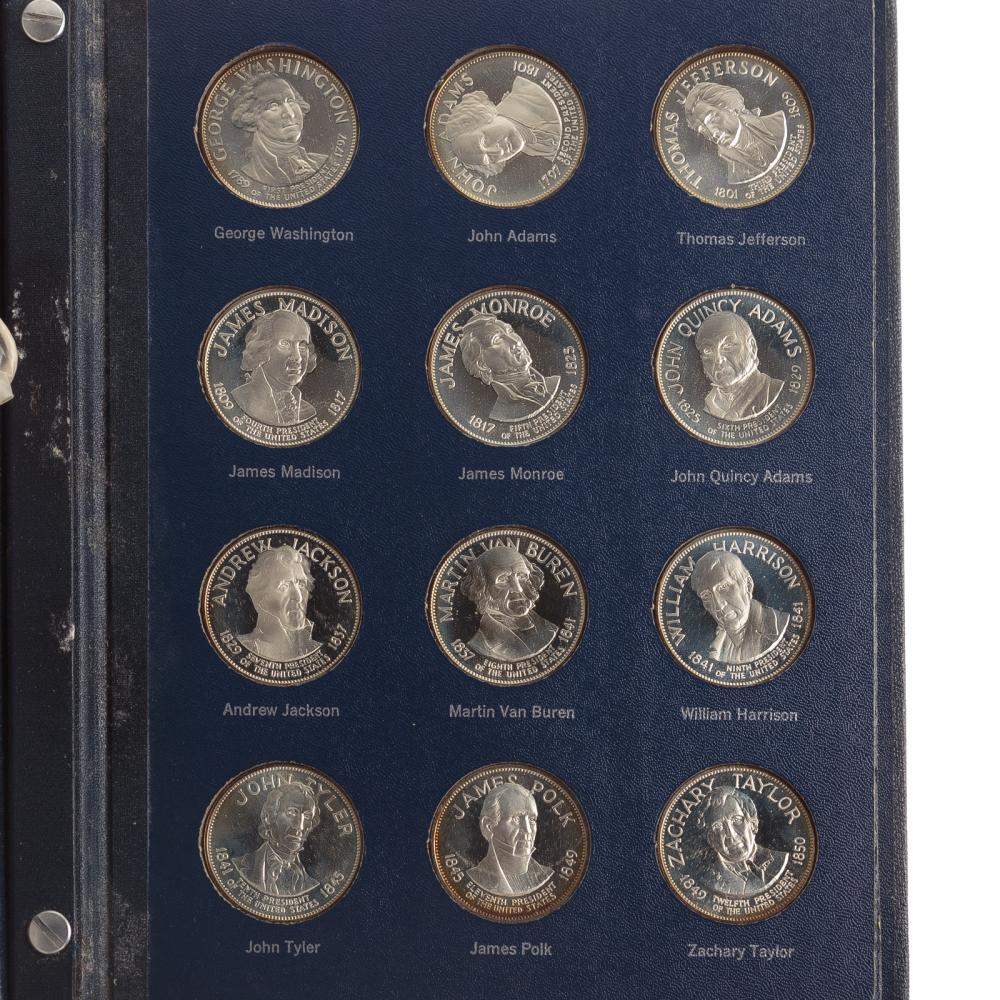 Lot 600: Franklin Mint Treasury Silver Presidential Medals
