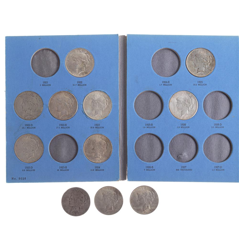 Lot 605: 10 Peace Dollars in Whitman Folder plus 3-1935