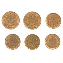 Lot 611: Six $1 US Gold Pieces