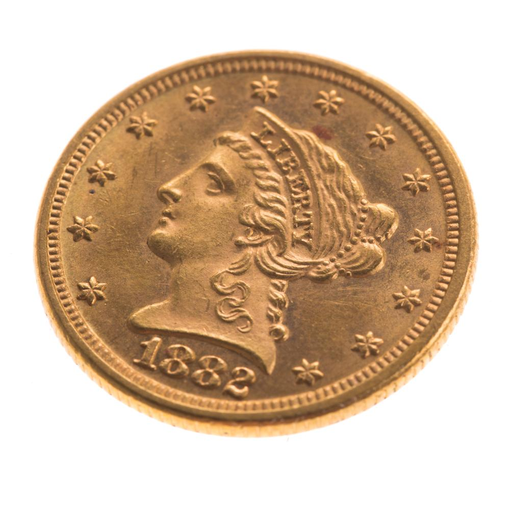 Lot 610: 1882 $2.50 Liberty Gold Quarter Eagle MS61+ PL