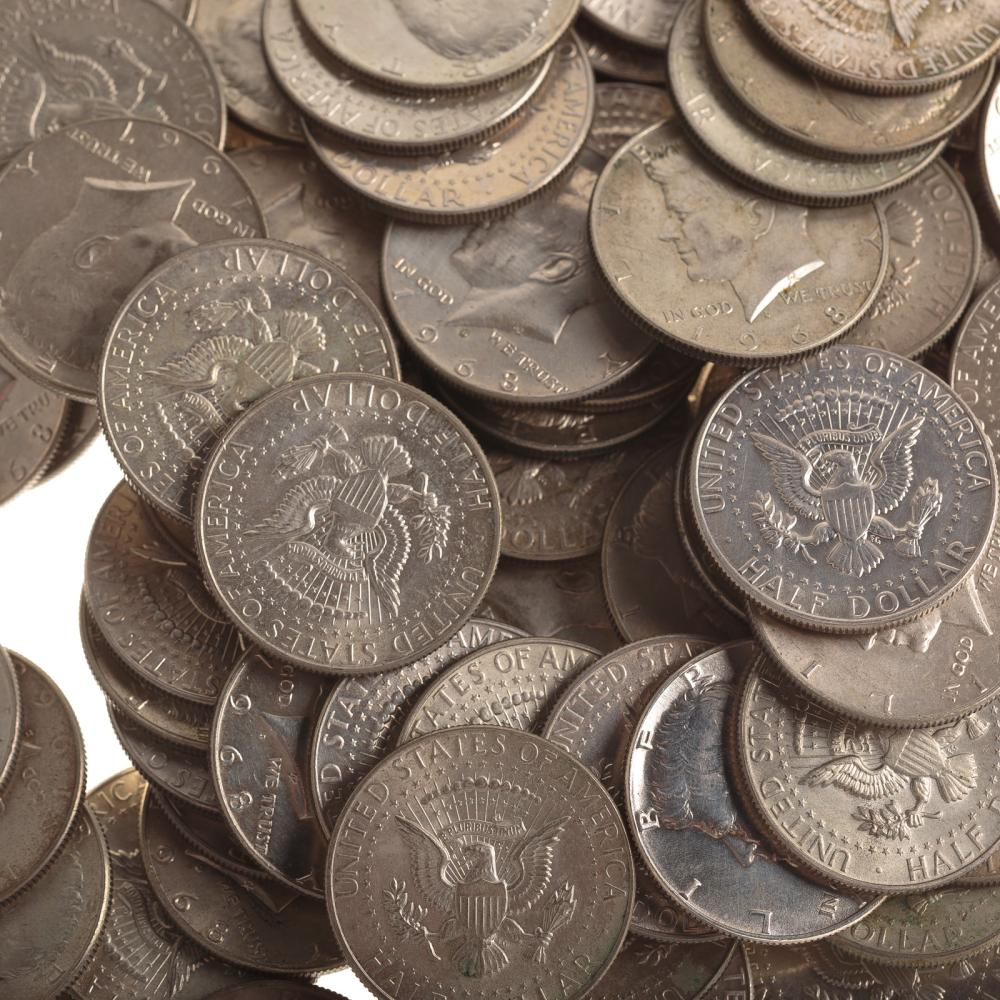 Lot 607: Silver Halves 21-90% and 130-40%