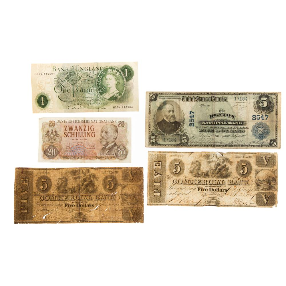 Lot 626: Currency featuring 1902 $5 Ch 2547 Denton MD