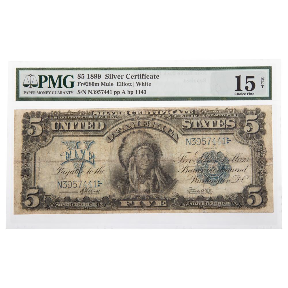 "Lot 632: 1899 $5 ""Chief"" Silver Certificate PMG Net F-15"