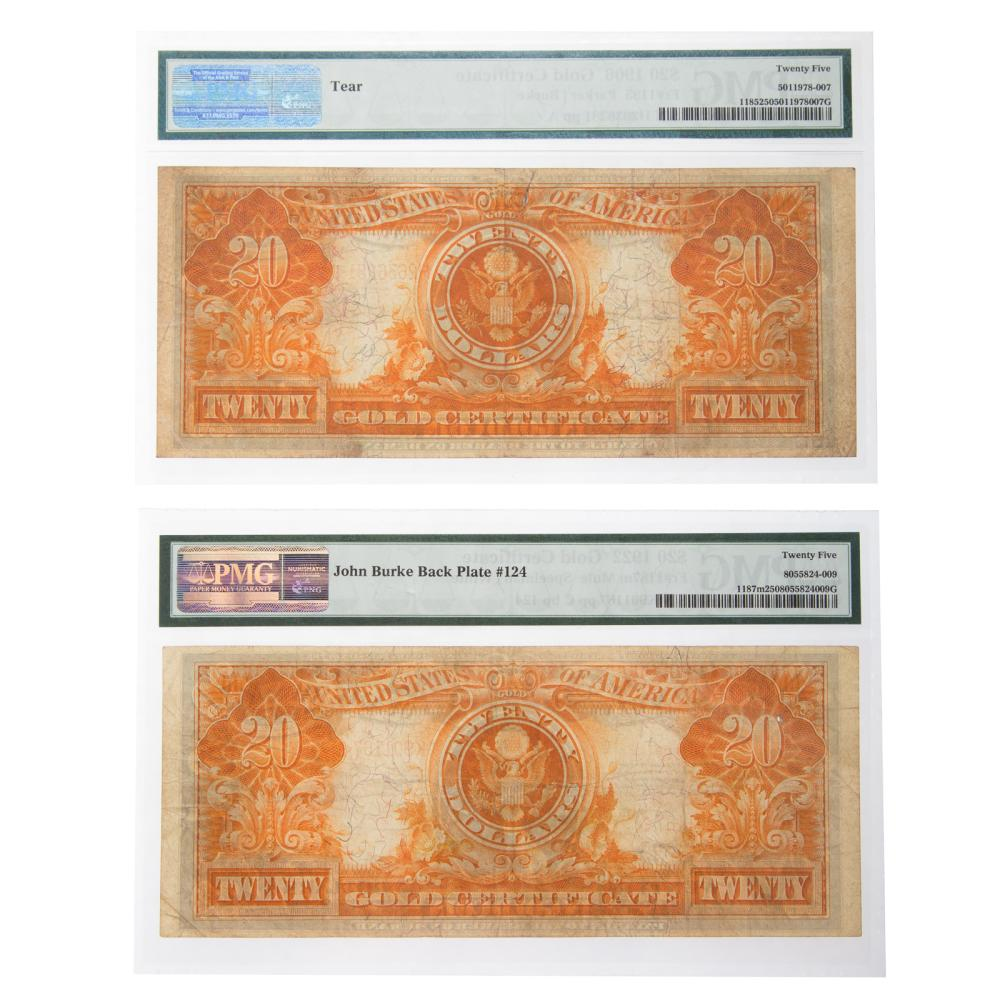 Lot 634: Pair of $20 Large Gold Certificates