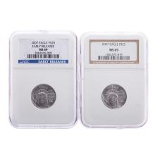 Lot 641: Pair of 2007 1/4 Oz Platinum NGC MS69