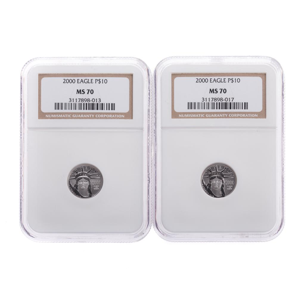 Lot 638: Pair of 2000 Platinum 1/10th Oz NGC MS-70
