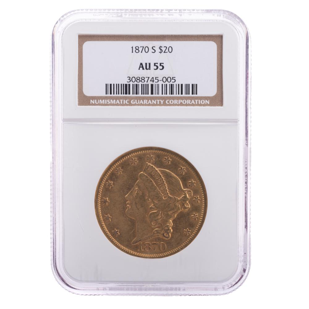 Lot 639: 1870-S $20 Double Eagle Type 2 NGC AU55