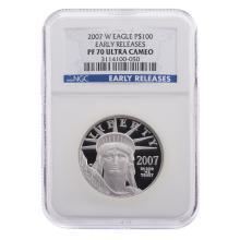 Lot 640: 2007 W 1 Ounce Platinum Eagle NGC PF 70 Ultra Cam