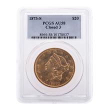 Lot 642: 1873-S Closed 3 $20 Double Eagle PCGS AU-58