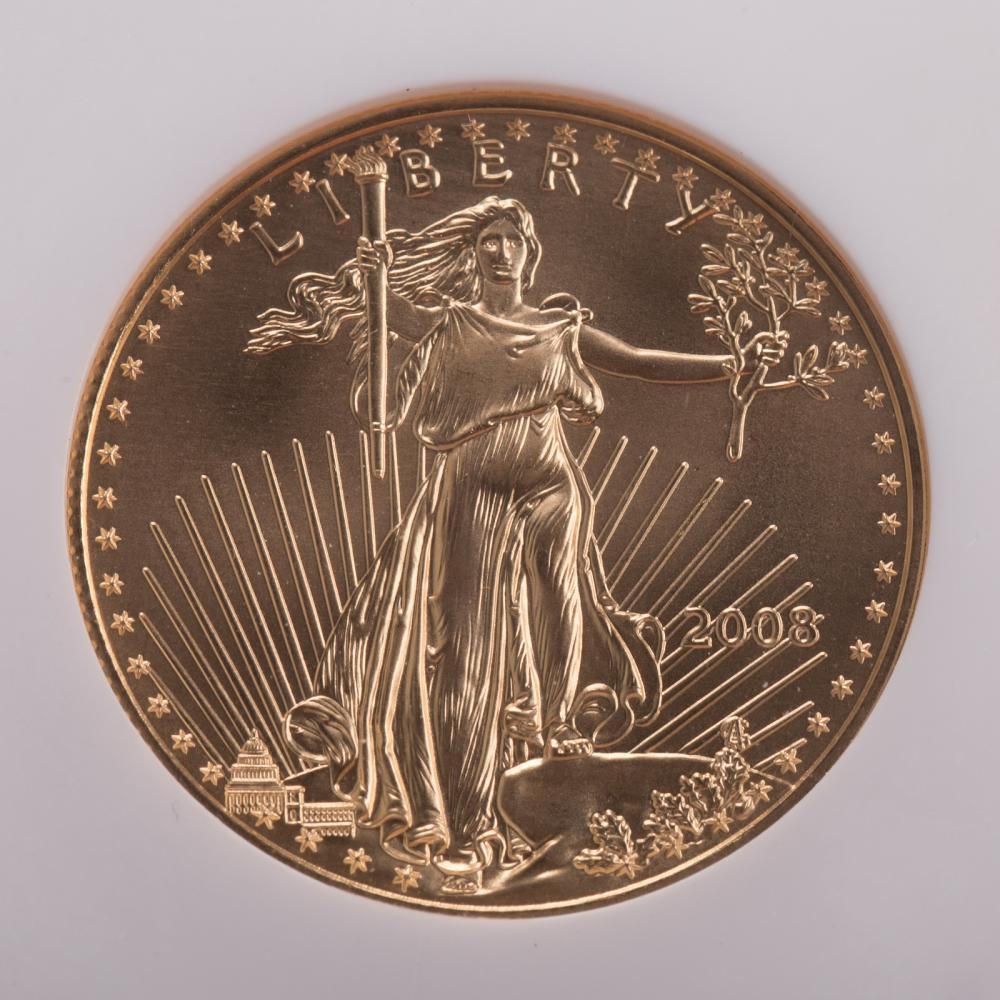 Lot 643: 2008 1/2 Oz. Gold American Eagle NGC MS-70