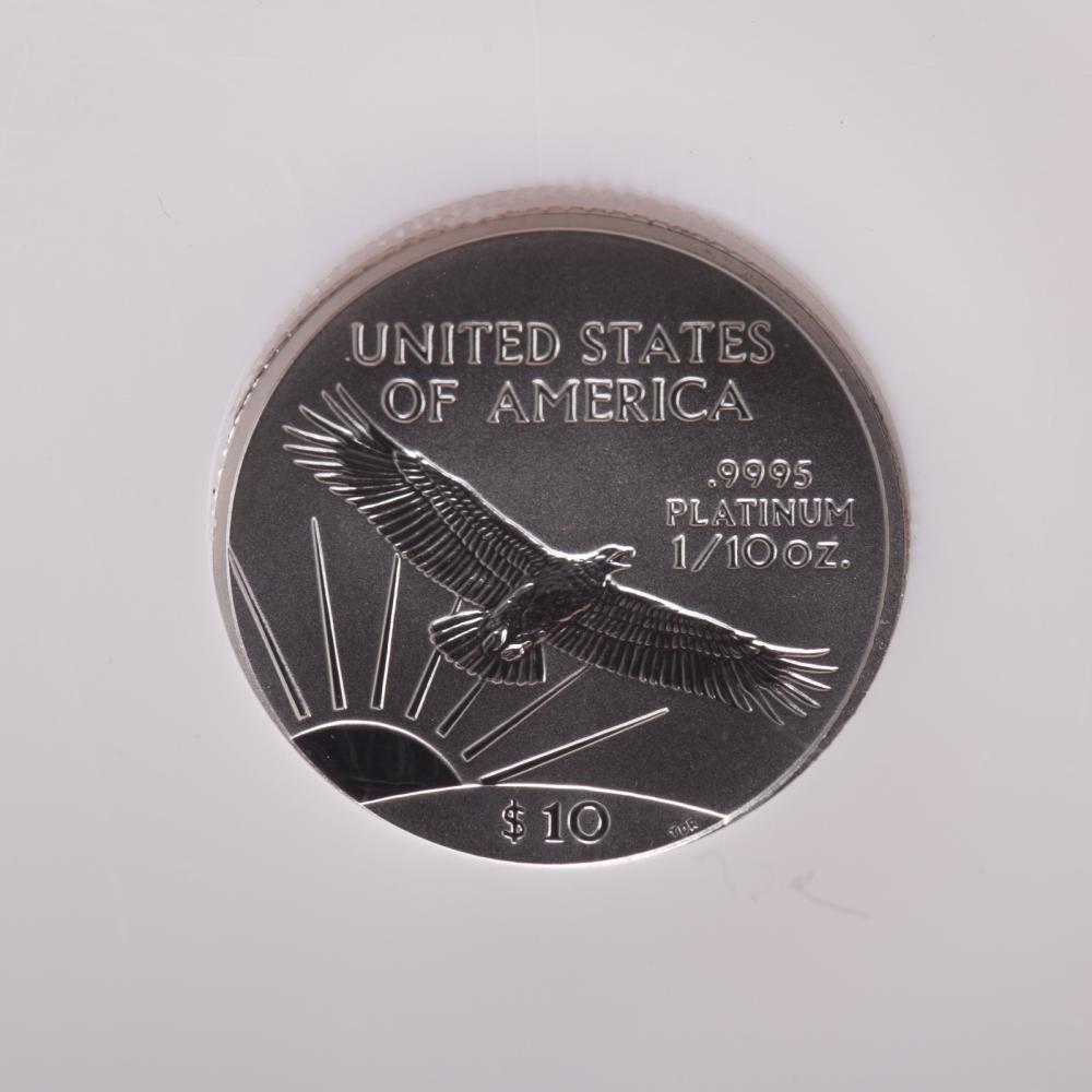 Lot 648: Three NGC MS-70 Platinum 1/10th oz Eagles