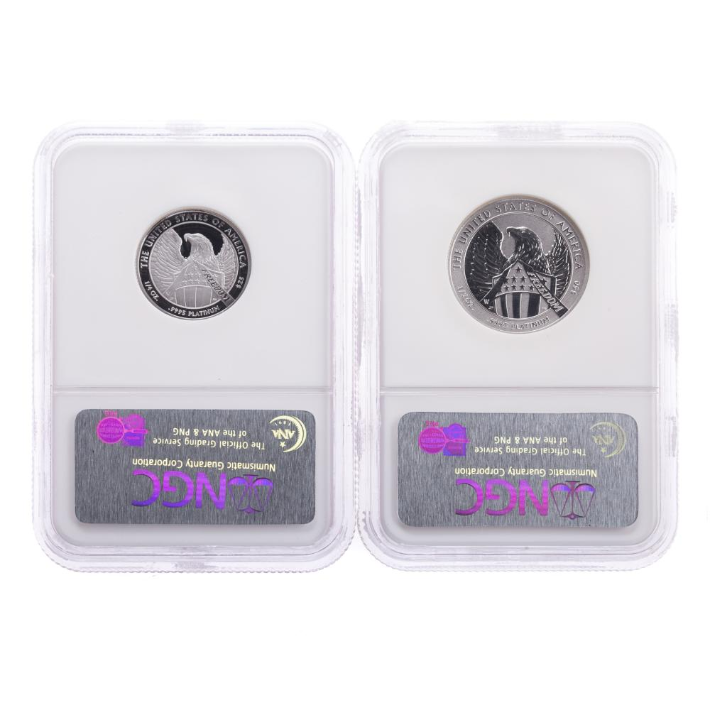 Lot 645: Pair of NGC Proof 70 Platinum 1/2 ,1/4 Eagles