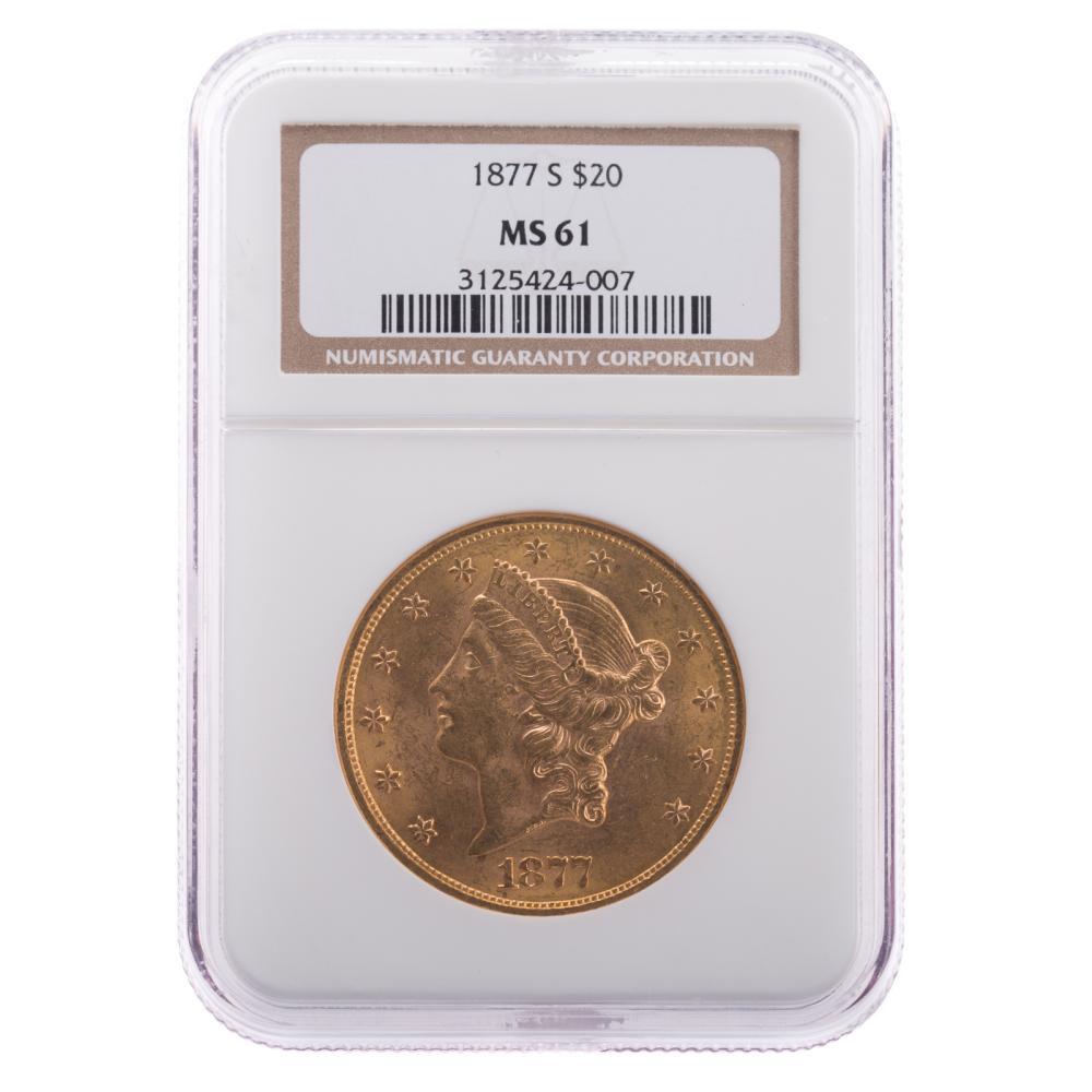 Lot 647: 1877-S $20 Double Eagle NGC MS61