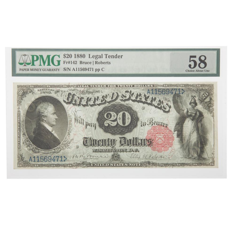Lot 658: 1880 $20 Legal Tender PMG-58