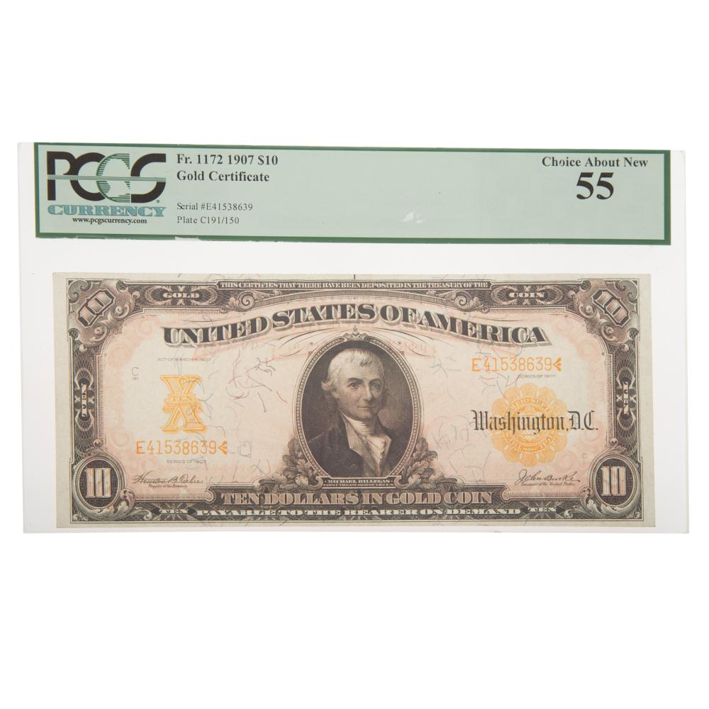 Lot 657: 1907 $10 Gold Certificate FR 1172 PCGS-55