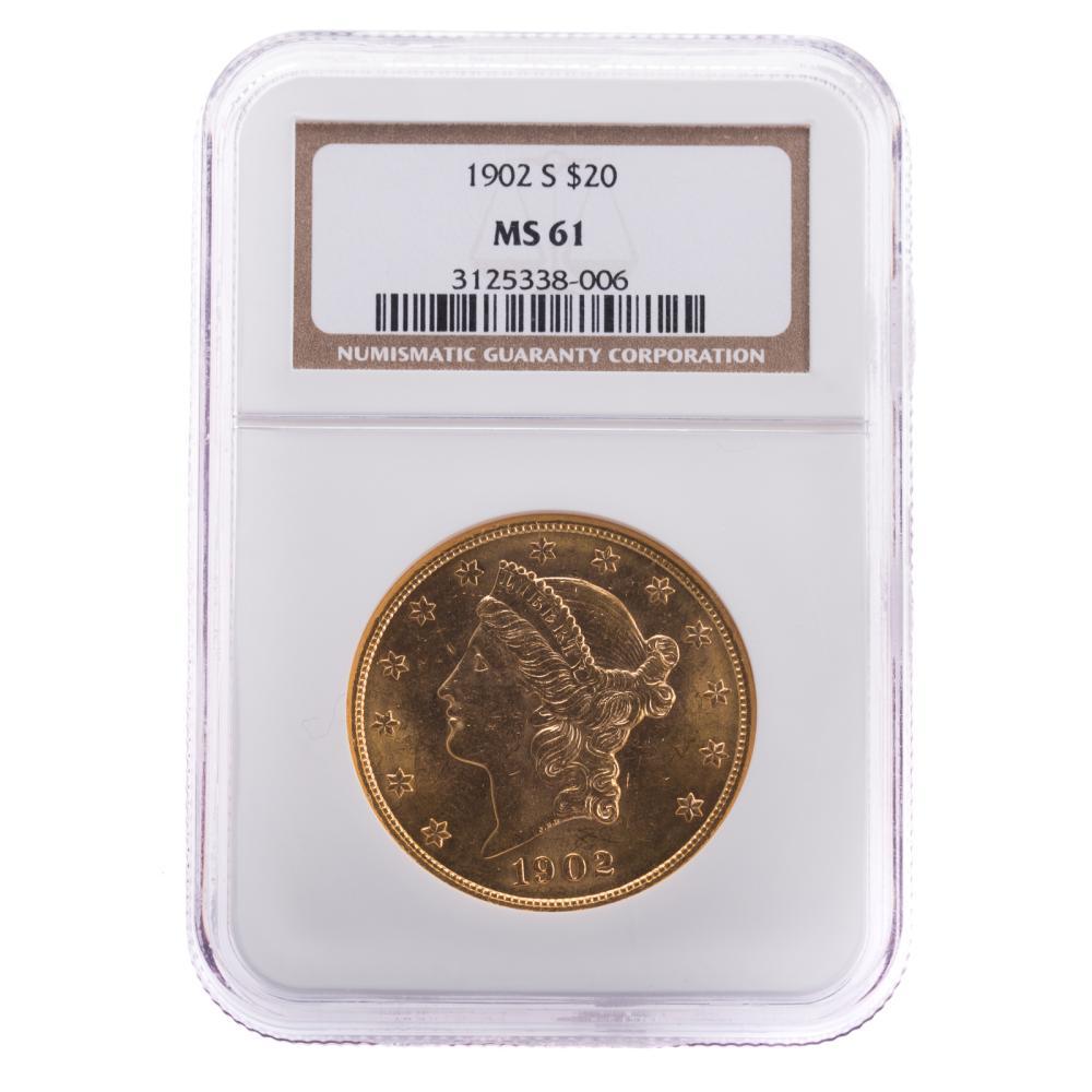 Lot 653: 1902-S $20 Double Eagle NGC MS-61