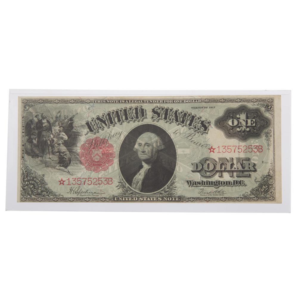 Lot 654: 1917 $1 Legal Tender STAR Note FR.39 AU58++