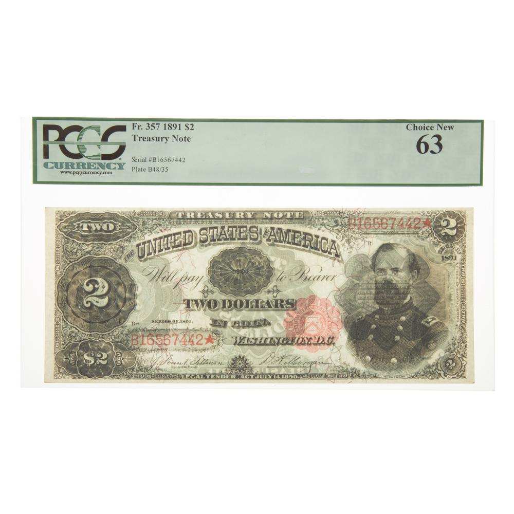 Lot 659: 1891 $2 Treasury Note FR 357 PCGS-63 McPherson