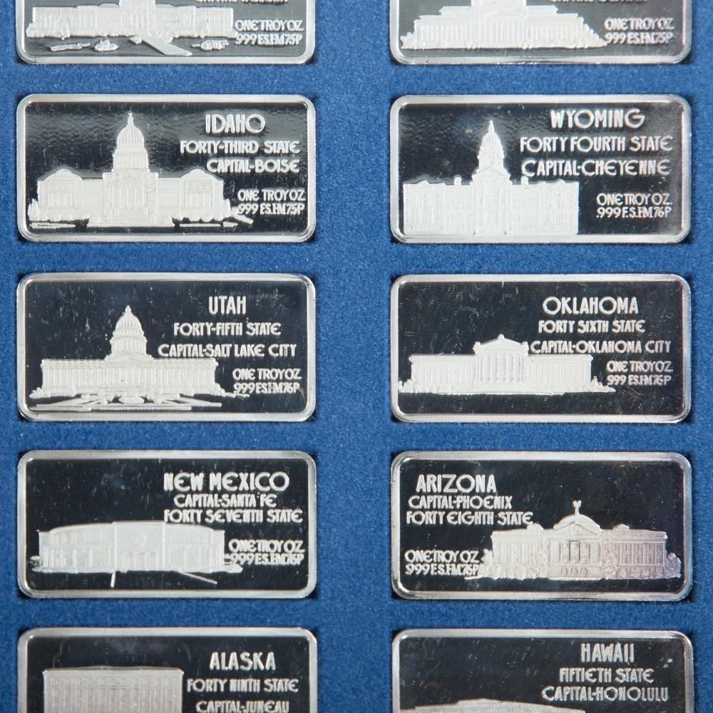 Lot 661: Hamilton Mint's Collection of State Silver Ingots