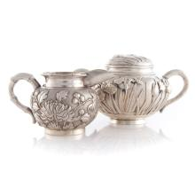 Chinese Export silver cream pitcher bamboo handles