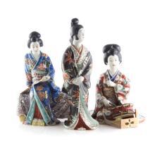 Three Japanese Kutani figures