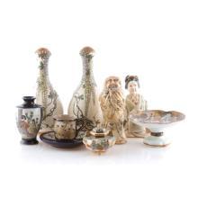 7 Japanese Satsuma earthenware & porcelain items