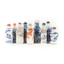 9 Chinese porcelain snuff bottles