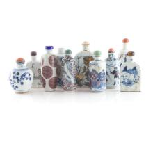 10 Chinese porcelain snuff bottles