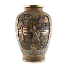 Japanese Satsuma earthenware vase