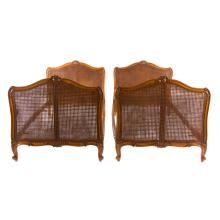 Pair Louis XV style caned daybeds