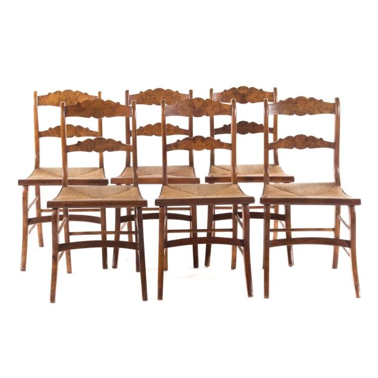 Six French mix wood dining chairs : H0086 L103361076 from www.invaluable.co.uk size 750 x 750 jpeg 49kB