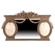 Louis XVI style gilt wood & plaster mantel mirror