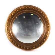 Classical giltwood bull's-eye convex mirror