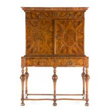 William & Mary burl walnut cabinet on stand