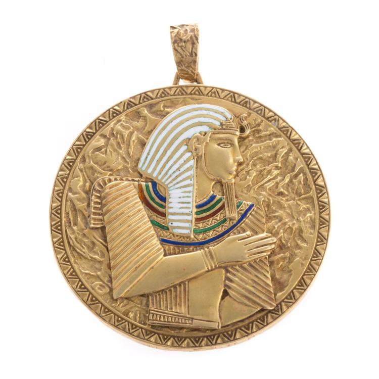 An 18k round disc pendant with enamel pharaoh for Alex cooper real estate auctions